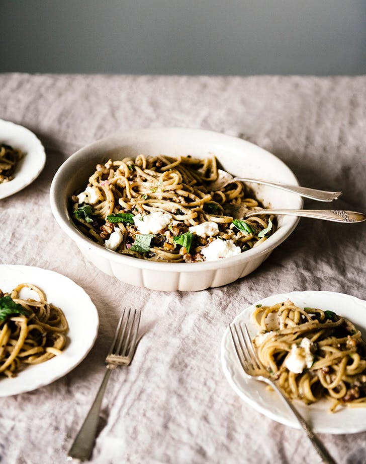 Smoky Eggplant Pasta with Pounded Walnut Relish, Mozzarella and Basil