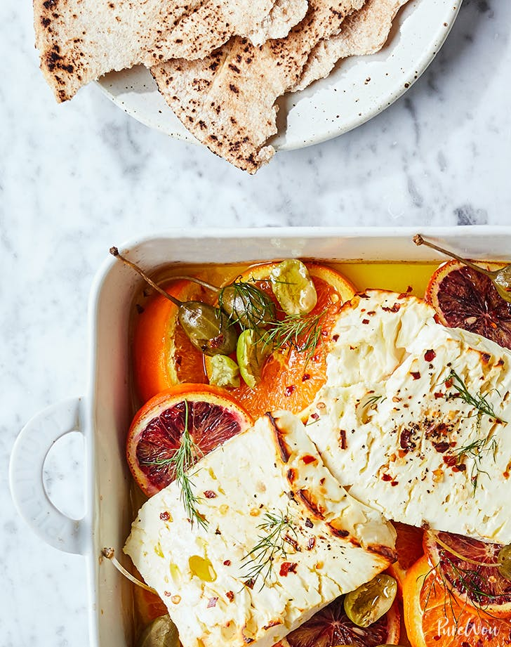Baked Feta with Dill, Caper Berries and Citrus