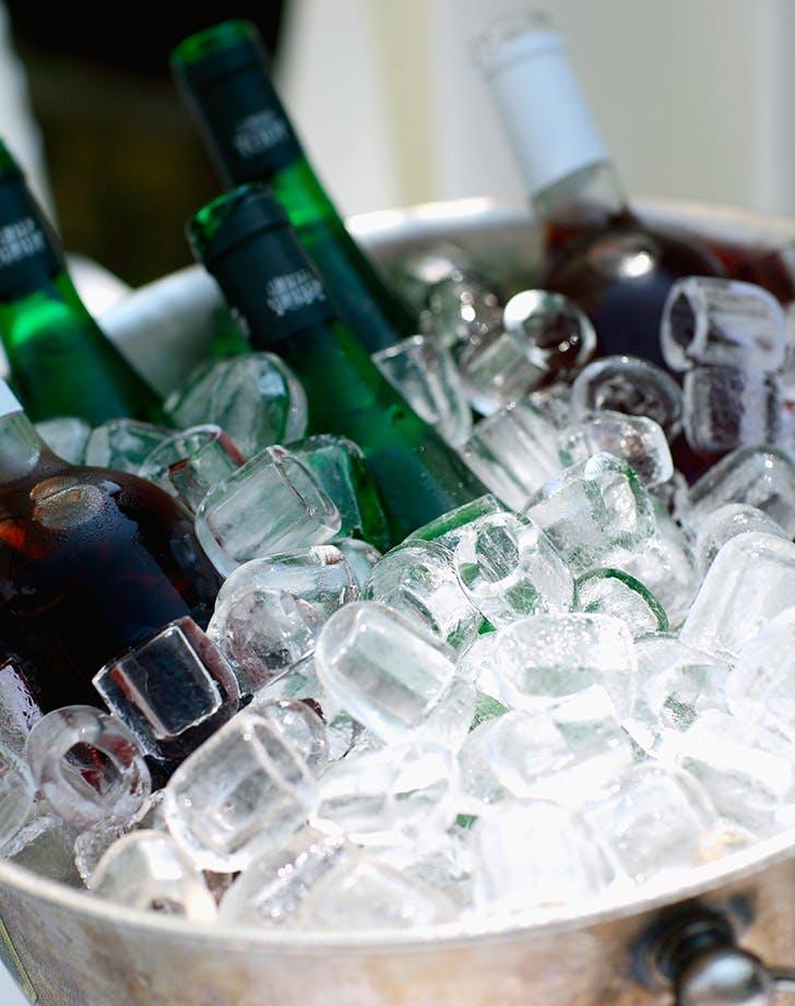 bottles in ice bucket