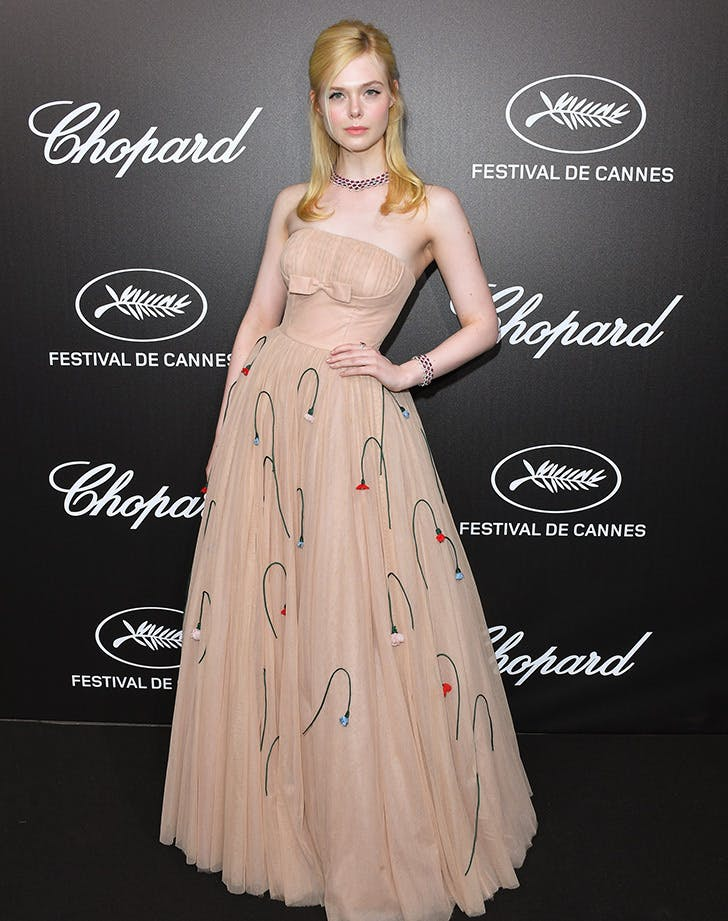 elle fanning in prada gown at cannes