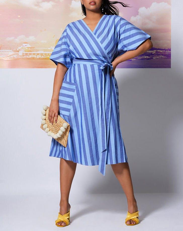 eloquii striped wrap dress