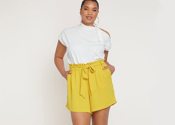 eloquii yellow plus size shorts