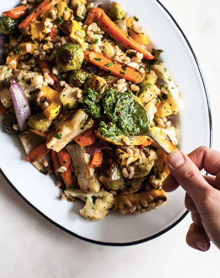 farro and roasted vegetables with italian salsa recipe