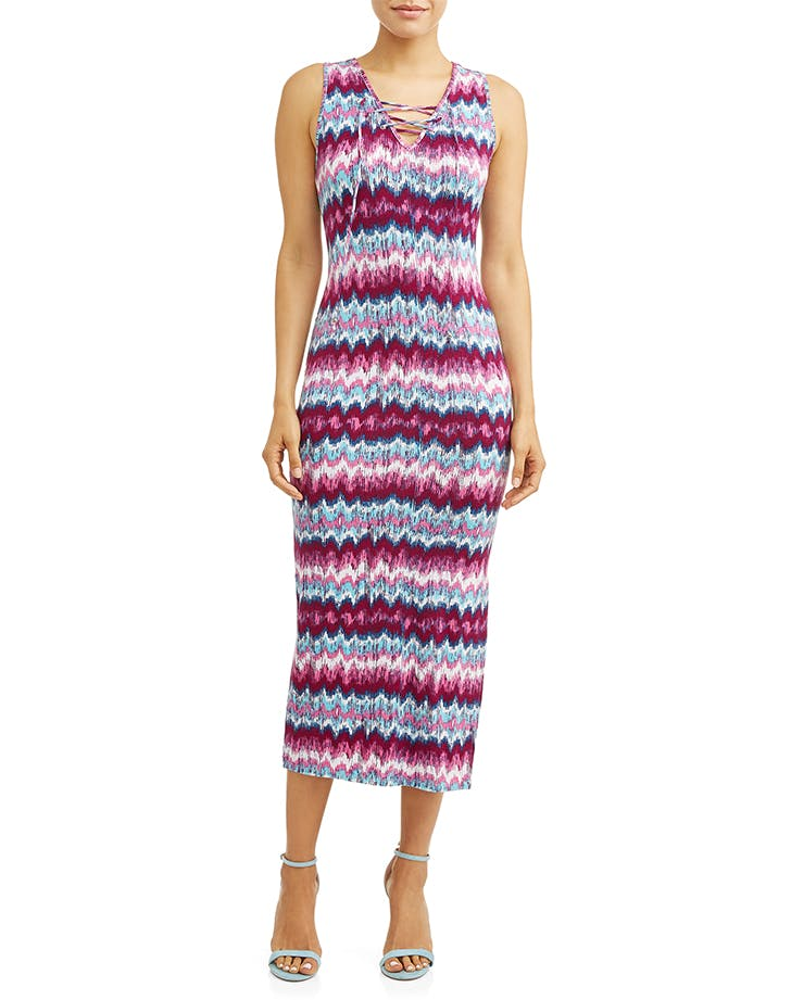 fitted printed maxi dress