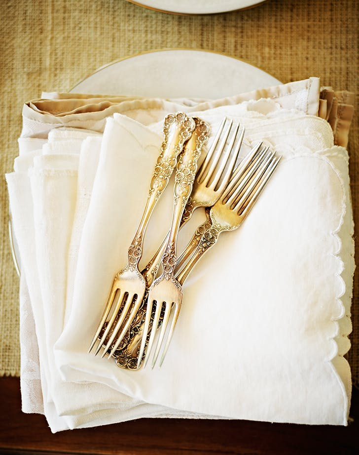 flatware and linen napkins