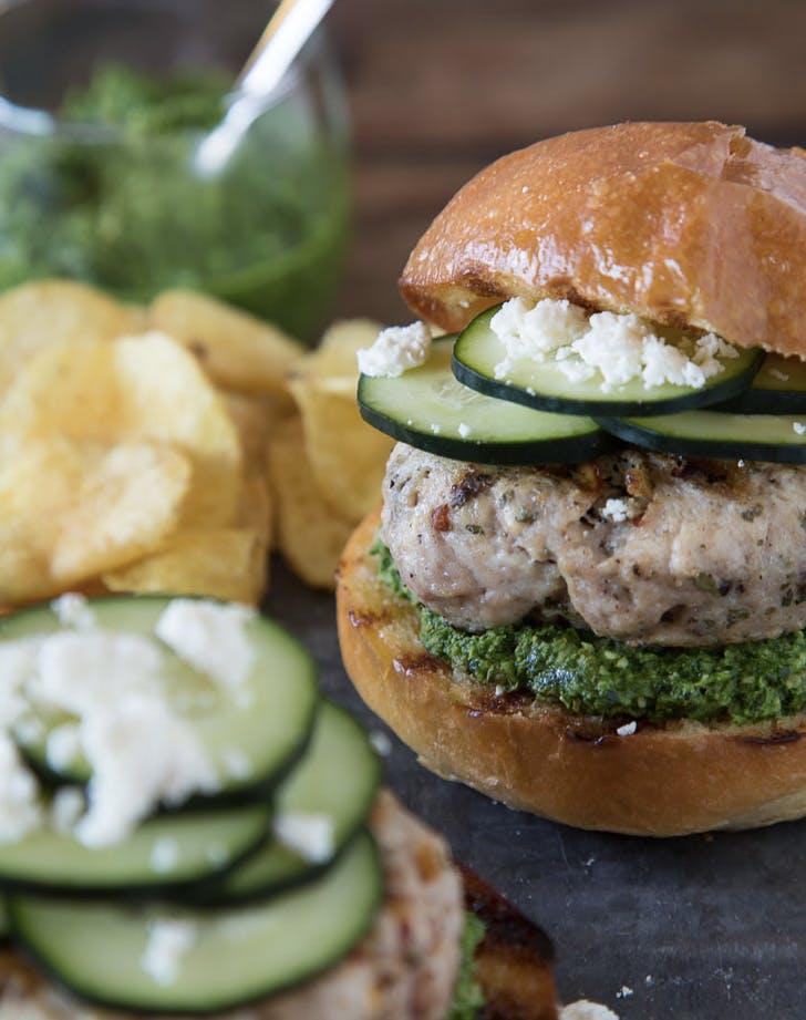 green harissa turkey burgers recipe