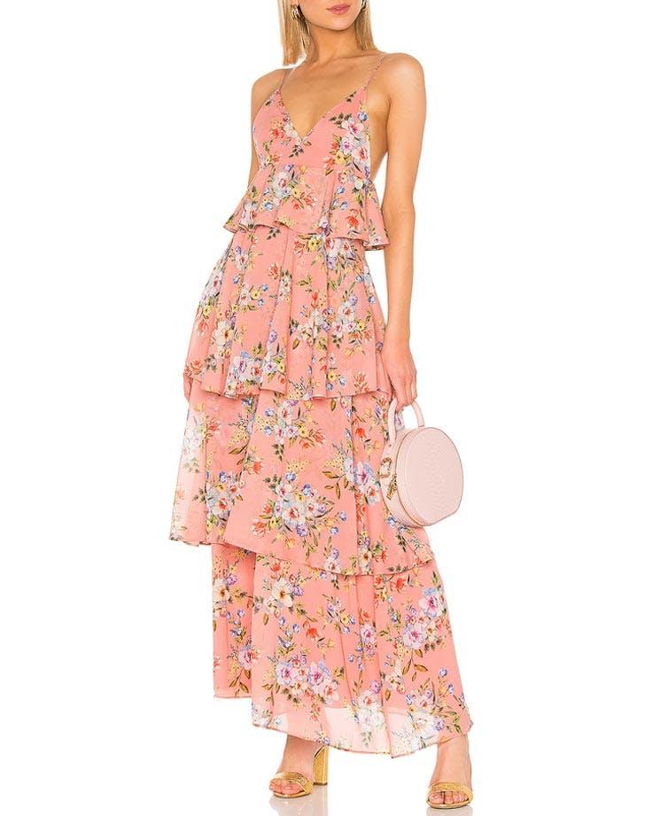 house of harlow ruffle maxi dress