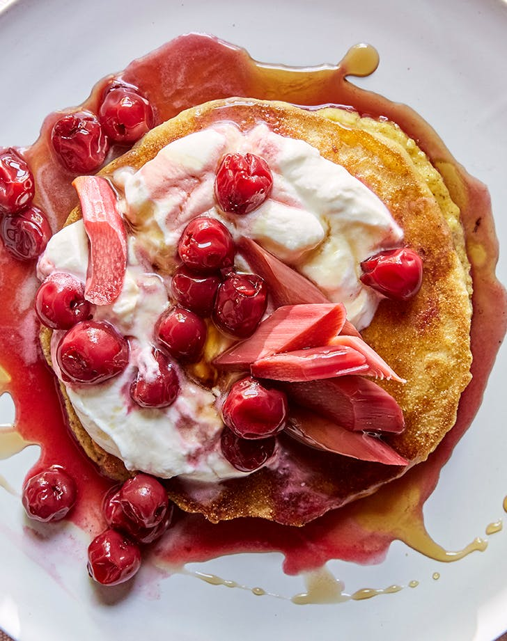 Johnnycakes with Rhubarb and Sour Cherries