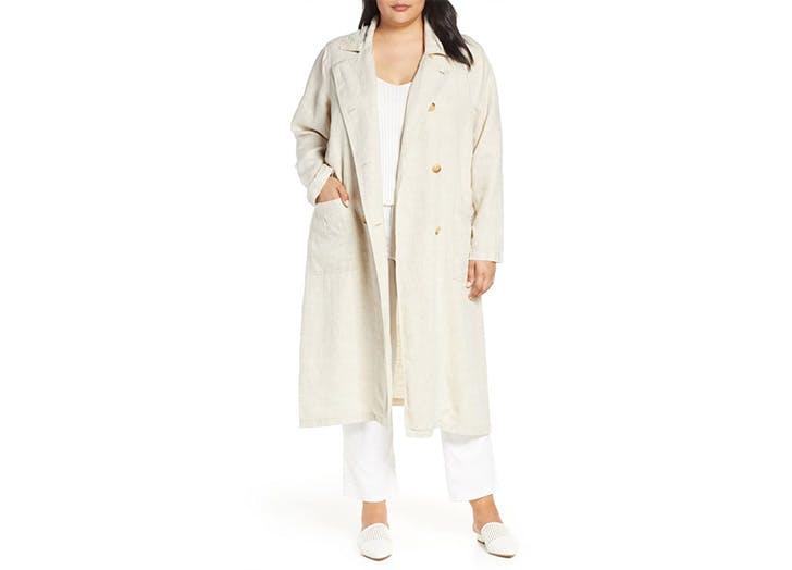 long linen coat plus size