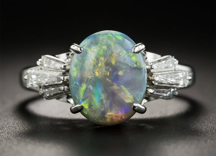 non traditional engagement ring opal