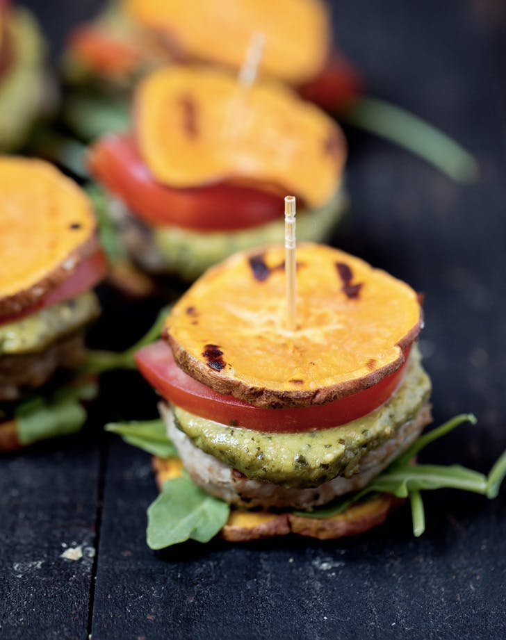 pesto turkey burger sliders on sweet potato buns recipe