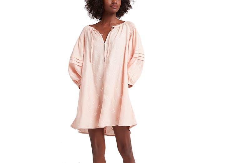 pink linen mini dress