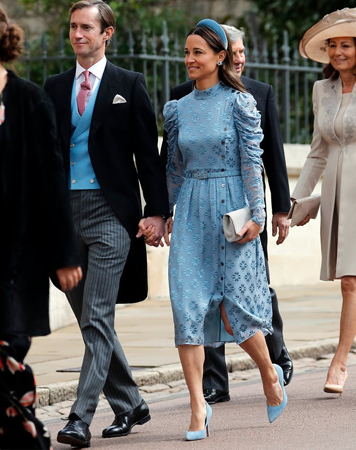 pippa middleton wearing a blue dress from kate spade new york