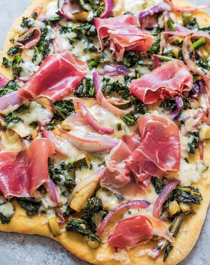 prosciutto and balsamic greens flatbread recipe