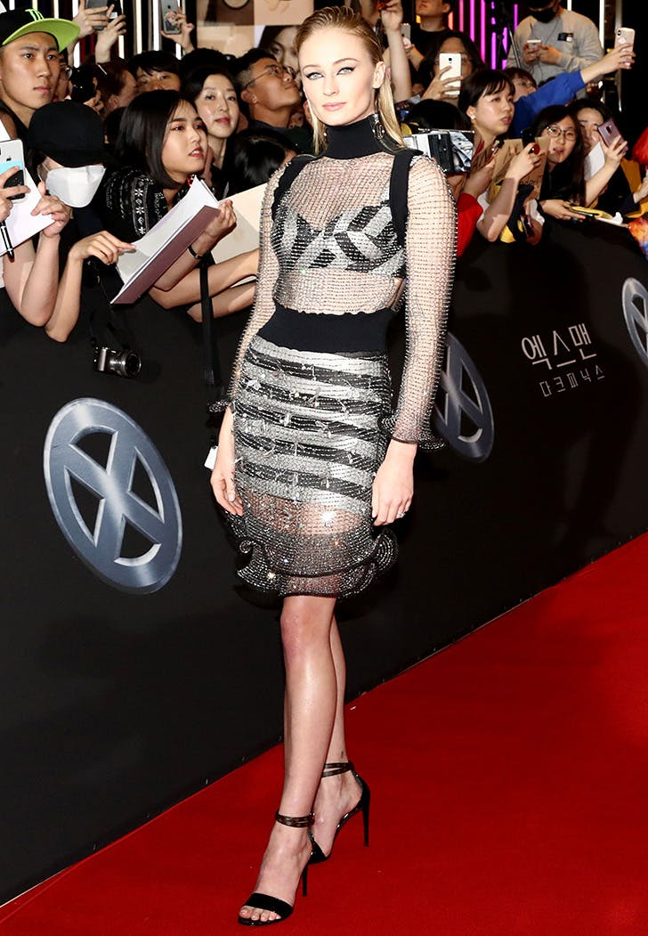 sophie turner in a chainmail dress