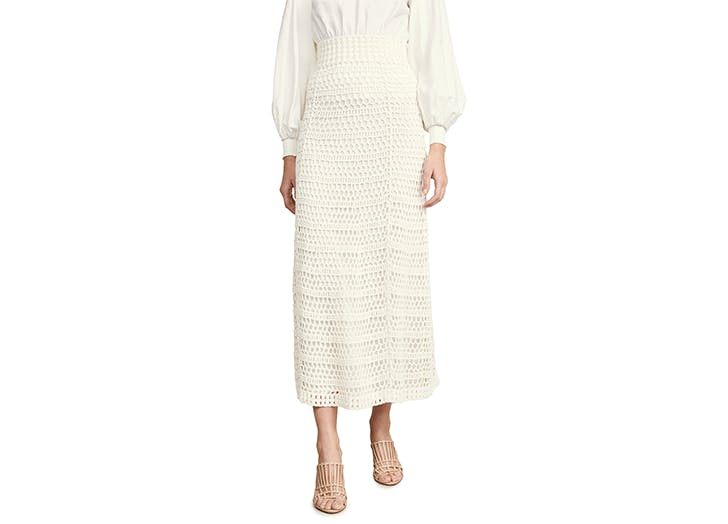 theory white crochet midi skirt