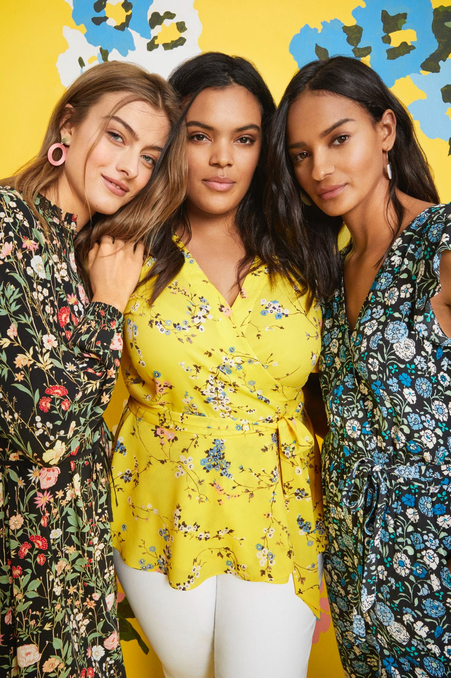 three women wearing loft clothing