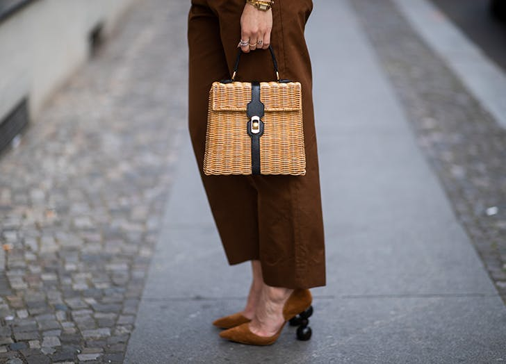 top handle straw bag