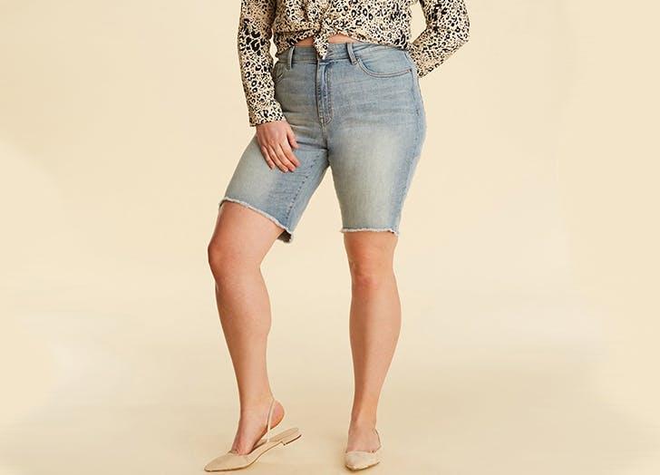 warp and weft denim bermuda plus size shorts