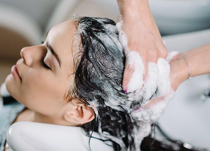 woman getting a scalp facial