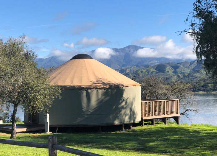 yurt on a lake