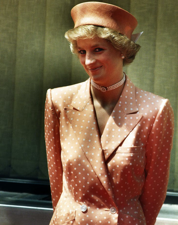 Princess diana peach polka dot outfit