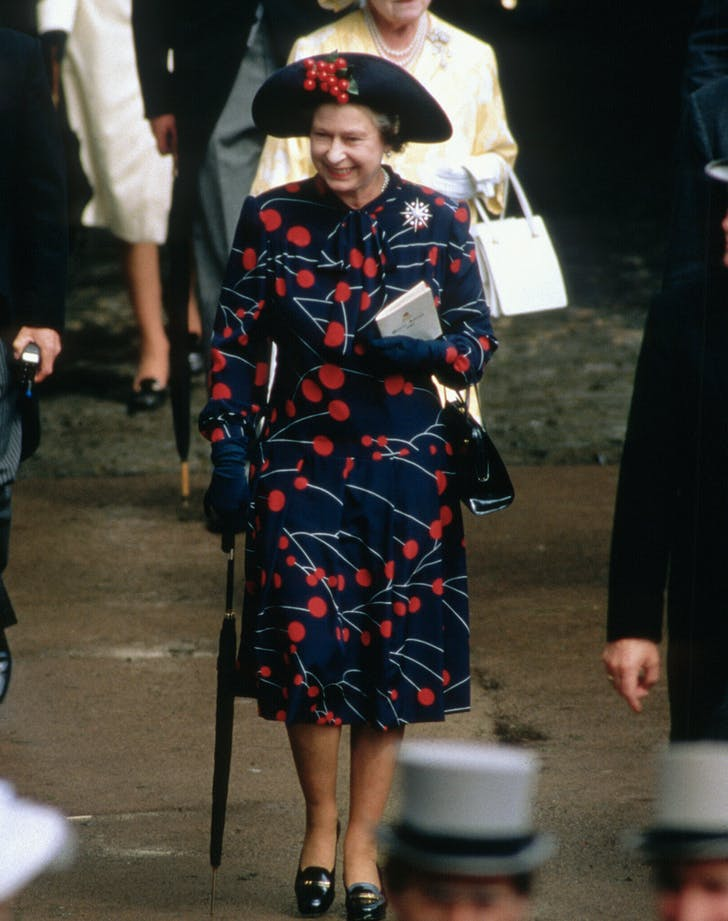 Queen Elizabeth in cherry print dress