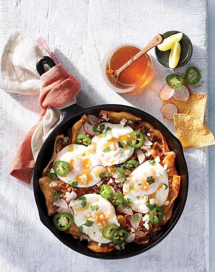 Chilaquiles with Poached Eggs and Spicy Honey