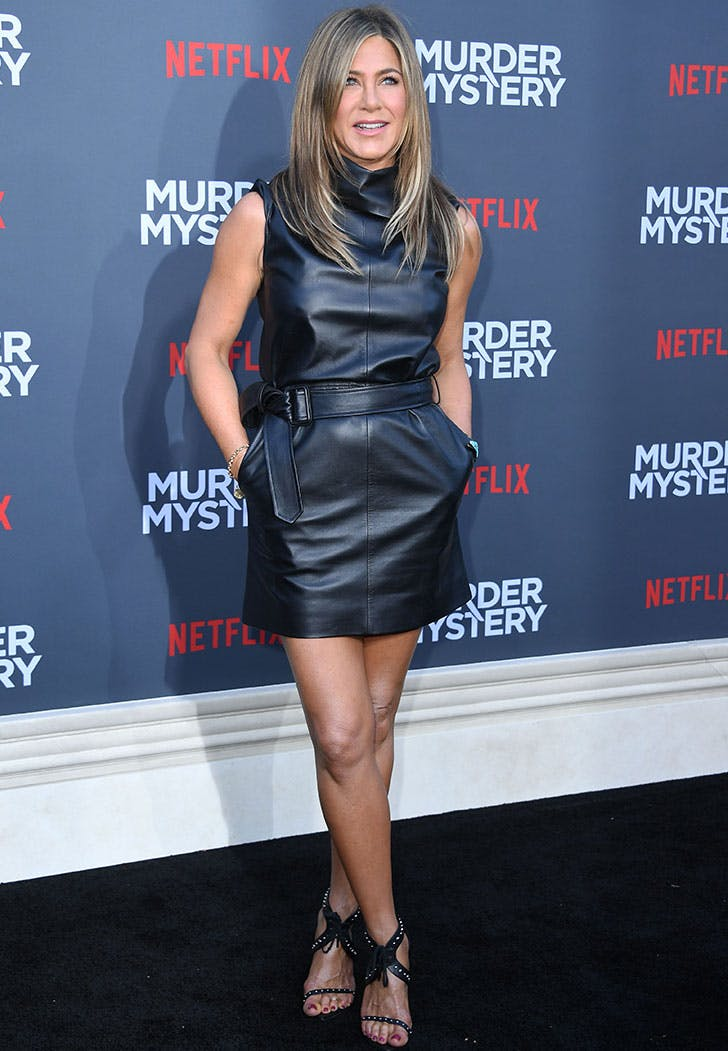 jennifer aniston murder mystery leather dress
