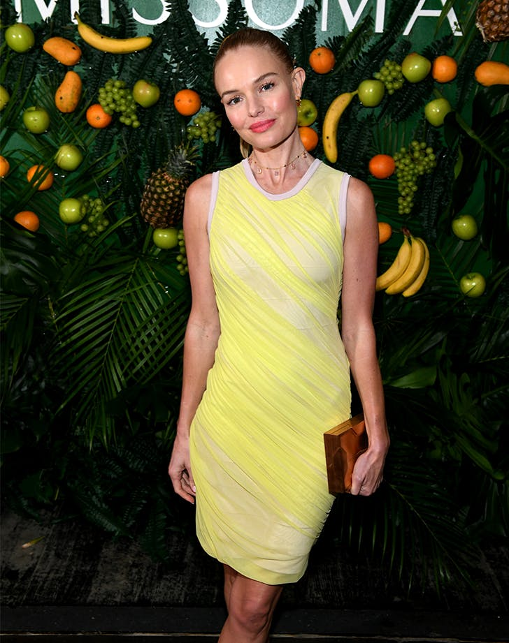 kate bosworth wearing neon yellow cocktail dress