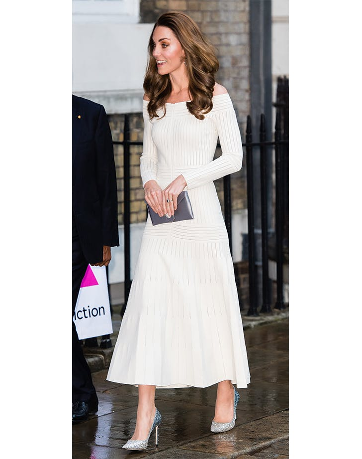 kate middleton in silver sparkly heels