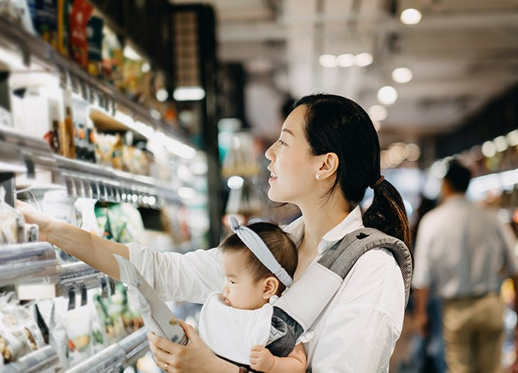 mom and baby grocery shopping