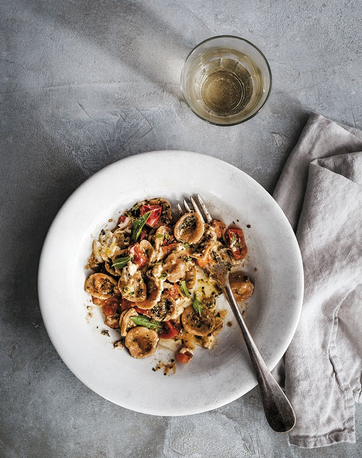 Orecchiette with Burrata, Tomatoes and Almond Pesto