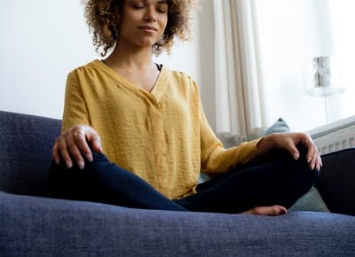 woman meditating category