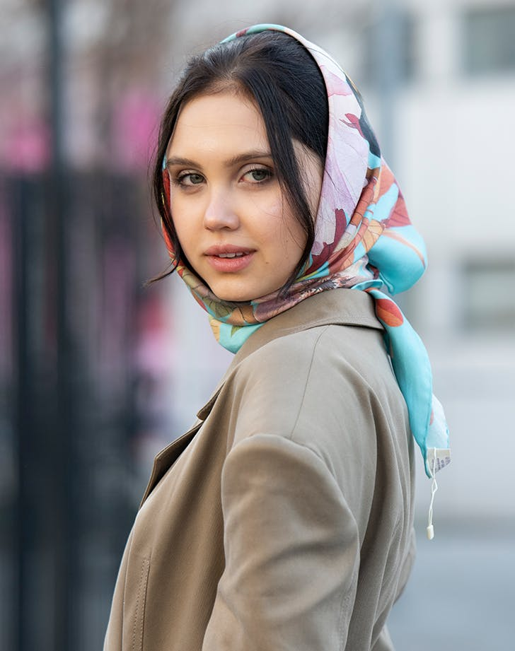 woman wearing a scarf around her head