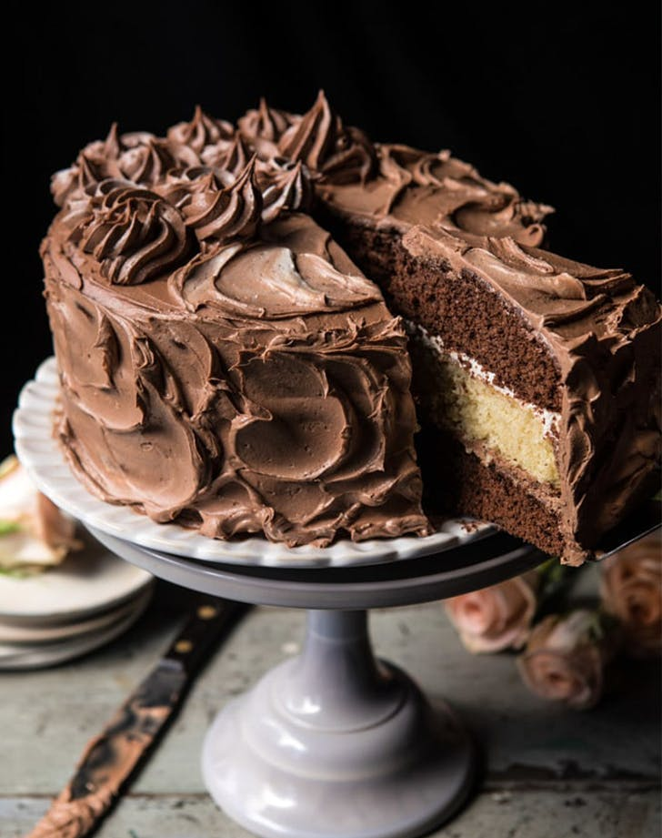 Chocolate Vanilla Birthday Cake