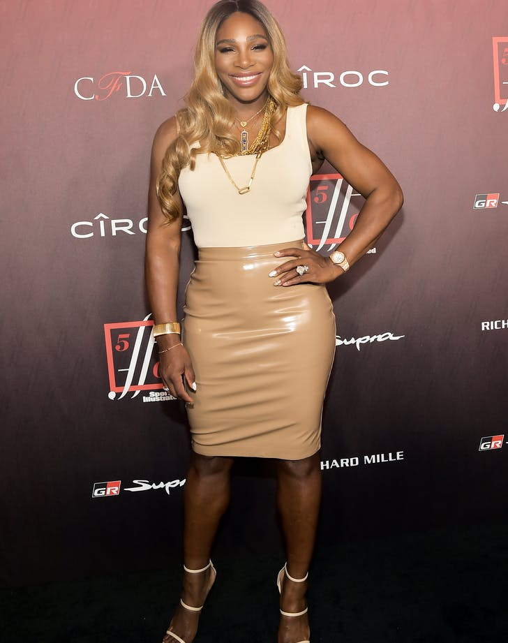 Serena Williams Brings the Heat in a Liquid Leather Skirt