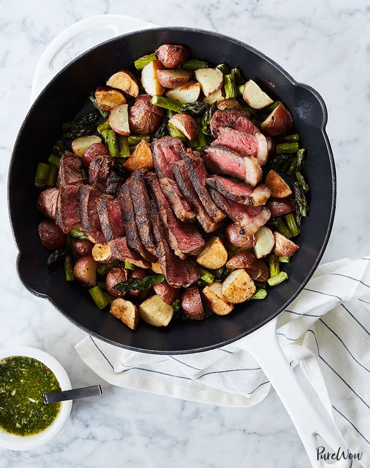 Skillet Steak With Asparagus And Potatoes Recipe