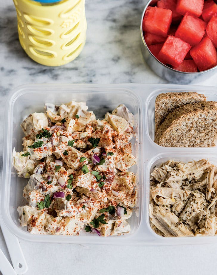 bento box lunch ideas meal prep mayo less potato salad recipe