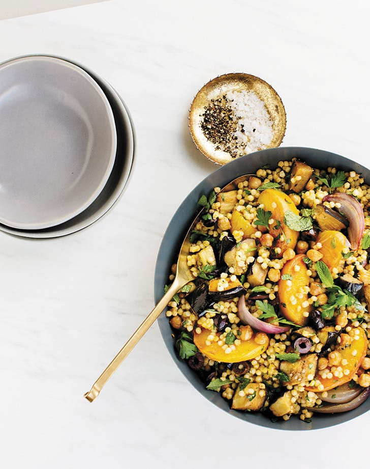 Pearl Couscous with Chickpeas, Eggplant and Peaches