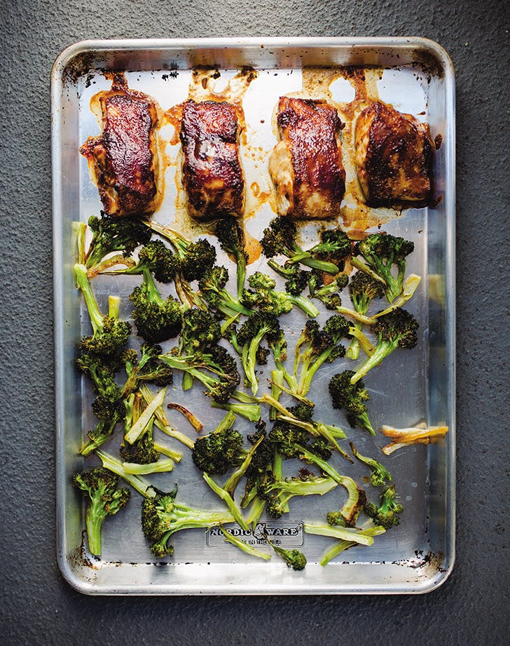 Sheet-Pan Miso-Glazed Fish with Broccoli and Coconut Rice