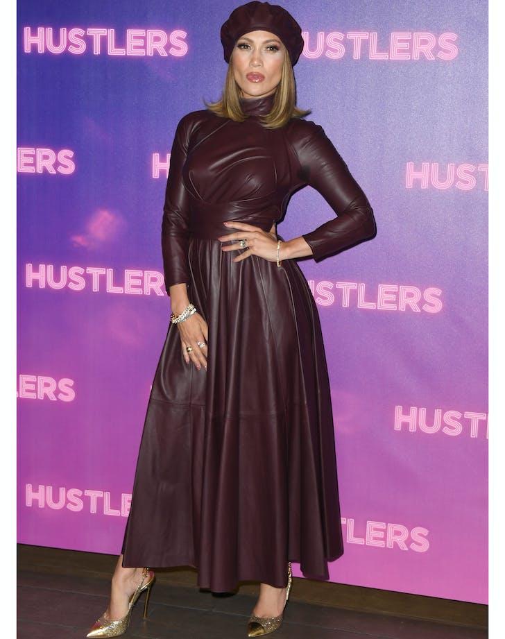 Jennifer lopez in leather dress