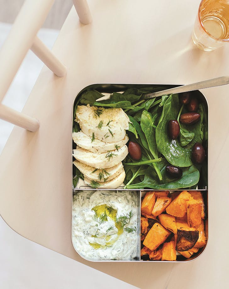 Lemon-Roasted Potatoes, Chicken and Spinach with Tzatziki
