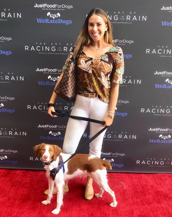 Lex goodman and dog roosevelt on dog red carpet. seriously1