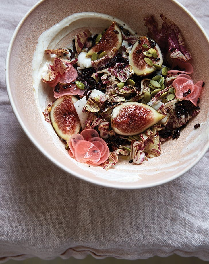 Black Rice Bowl with Figs, Radicchio, Pickled Radishes and Pepitas