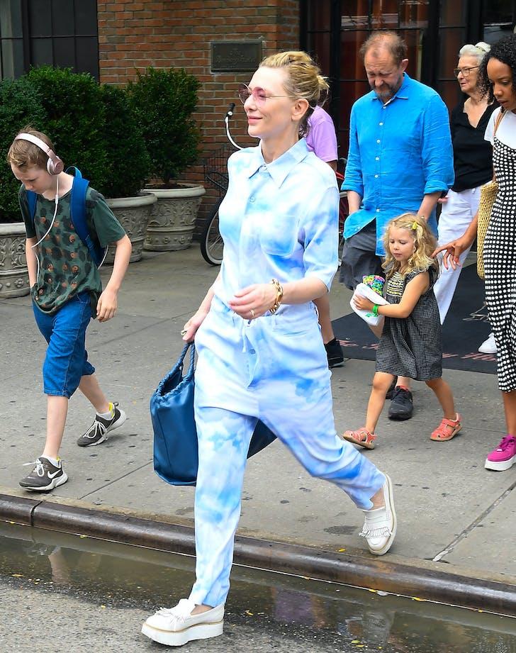 cate blanchett in mens tie dye jumpsuit
