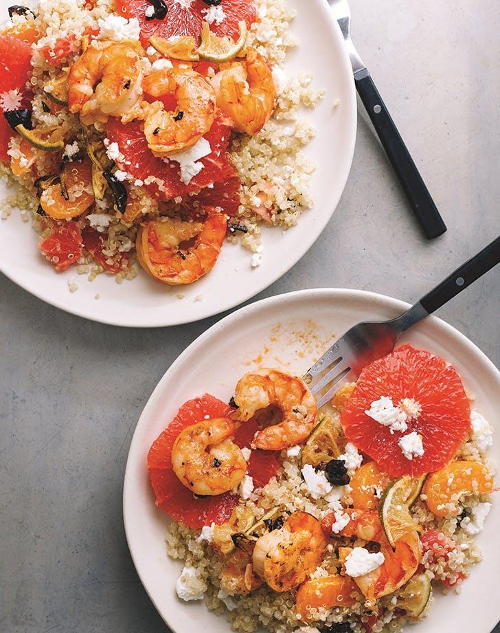 Citrus, Shrimp and Quinoa Salad with Feta