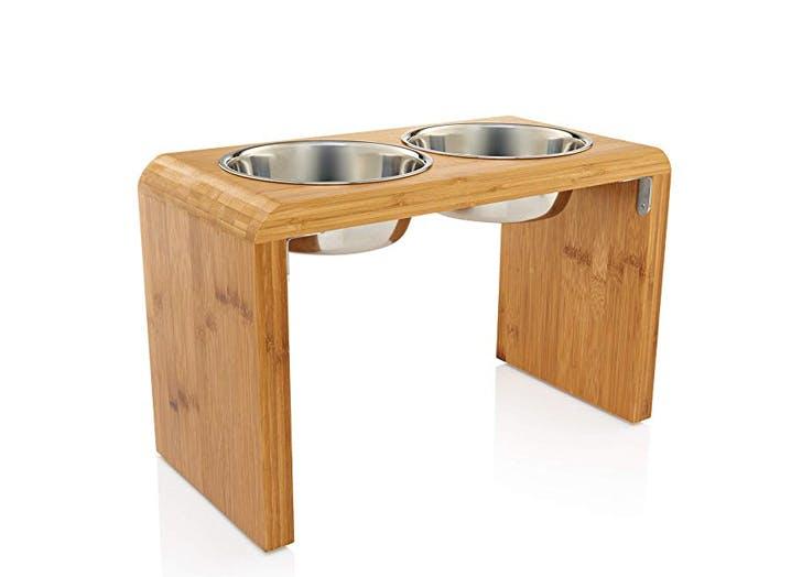 Elevated Dog Bowl Feeder Large Breed Dog Furniture Raised Dog Feeder Puppy Large Dog Bowls Modern Contemporary Dog Feeding Stand