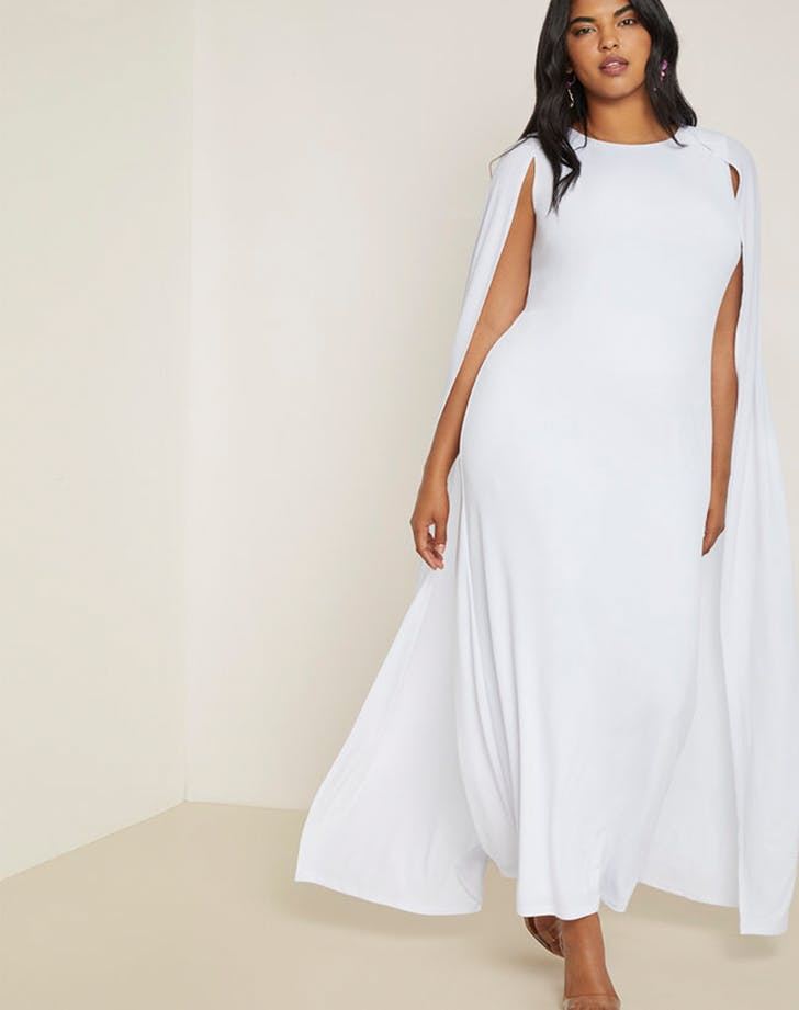 eloquii white cape gown