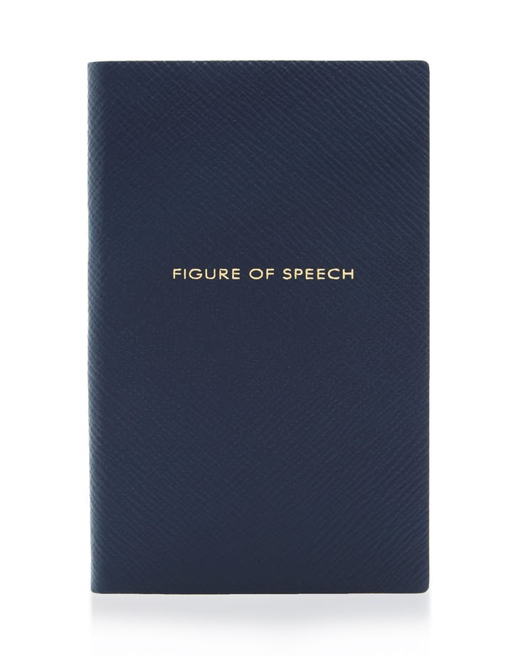 large smythson navy panama leather notebook